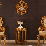 Italian Style Golden Carved Lounge Chairs
