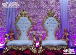 Latest Baroque Style High Back Wedding Chairs