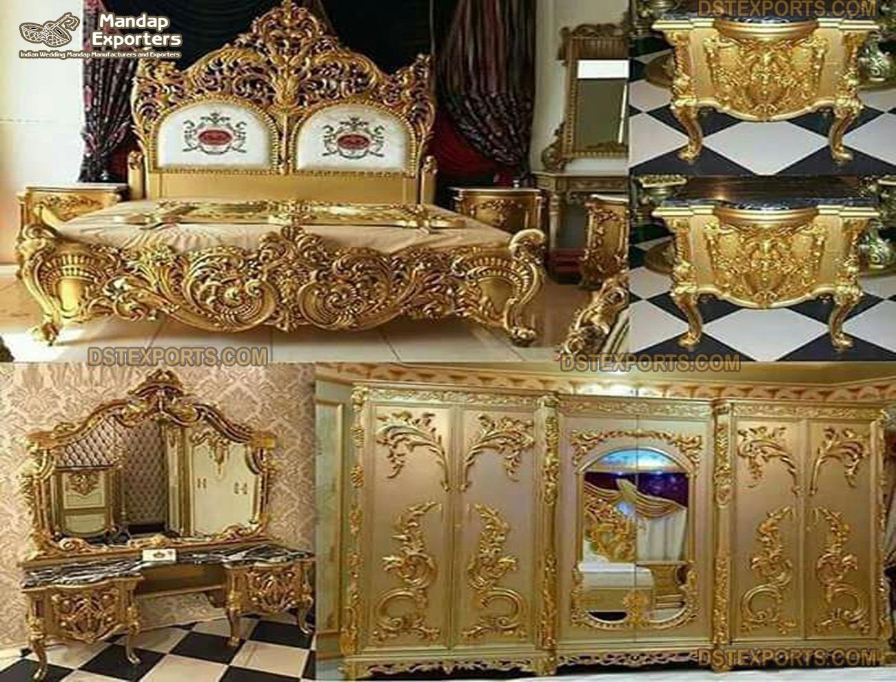Premium Hand Carved Gold Bedroom Furniture Set