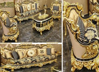 Royal Golden Carved Living Room Furniture