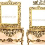 Solid Teak Golden Polish Console With Mirror
