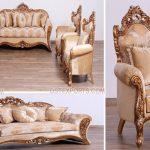 Victorian Upholstered Solid Wood Sofa Set
