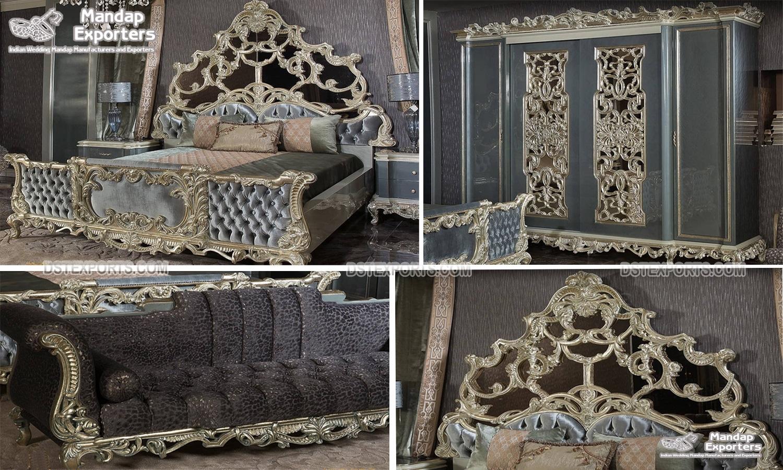 Antique Platinum Wooden Craft Bedroom Furniture