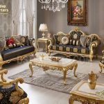 Antique Royal Gold Gliding Living Room Sofa Set