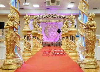 Decorated Golden FRP Crystal Walkway Pillars