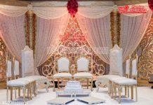 Delightful White Gold Wedding Mandap Chairs