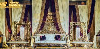 Designer Golden Sofa Set For Wedding Stage