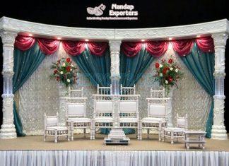 Exclusive Crystal LED Pillar Wedding Open Mandap