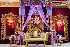 Exclusive Golden Frames Wedding Stage Decor