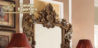 Exclusive Walnut Finish Wooden Console With Mirror