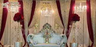 Exclusive Wooden Wedding Stage Sofa Throne
