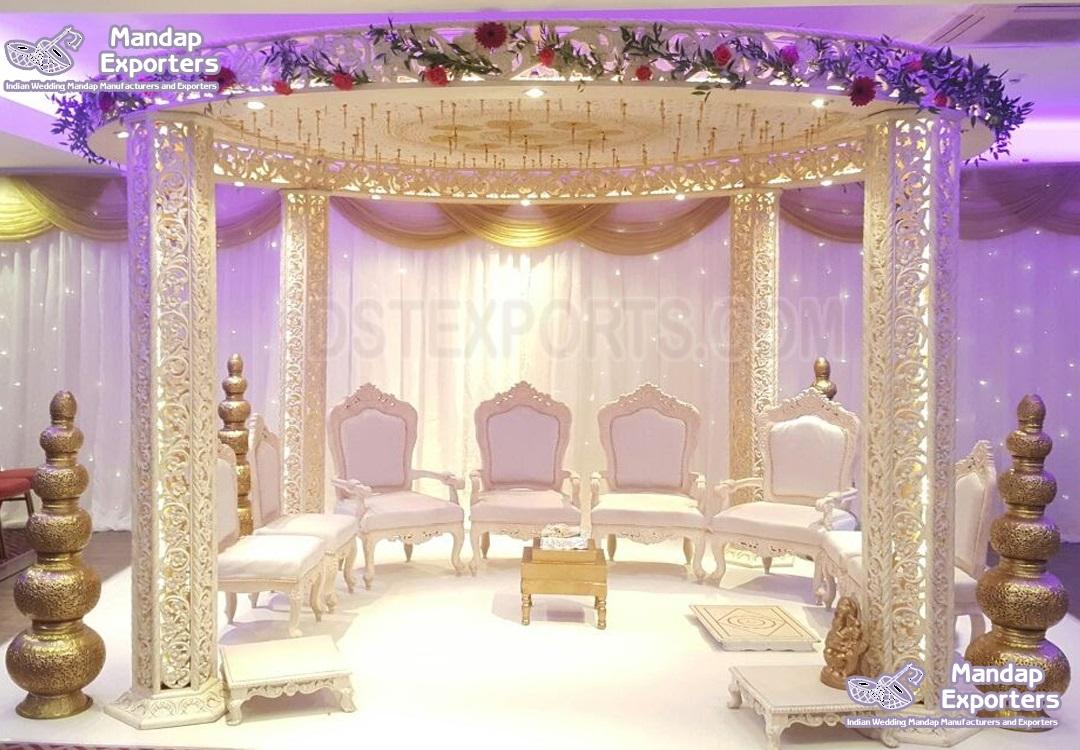 Fantastic Fiber Carved Wedding Round Mandap