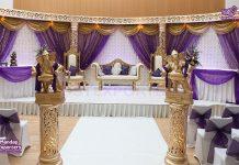 Golden Fiber Carved Wedding Stage FIJI