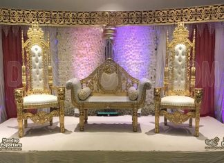 Gorgeous Wedding King Queen Lion Chair with Sofa