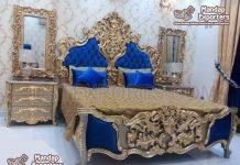 High End Golden Carved Wooden Bed & Nightstands