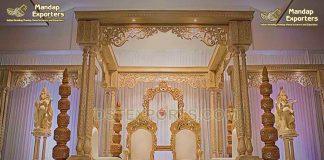 Traditional Triple Pillar Wooden Wedding Mandap
