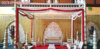 Traditional Wooden Sankheda Wedding Mandap Set