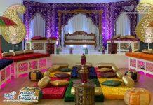 Vibrant Indian Mehndi Decor Backdrop Curtains