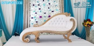 White Gold Italian Chaise For Wedding Stage
