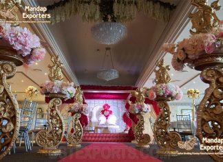 Decorated-Golden-Designer-Pillars-For-Wedding-Walkway