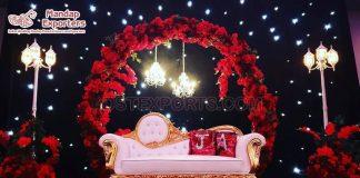 Designer White Gold Bride Groom Couch