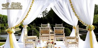 Exclusive Handmade White Gold Wedding Mandap Chairs