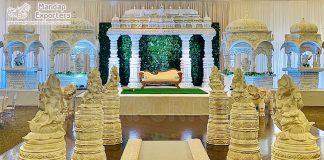 Grand Wedding White Theme Manavarai Stage