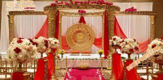 Indian Wedding Stylish Golden Jali Mandap Setup
