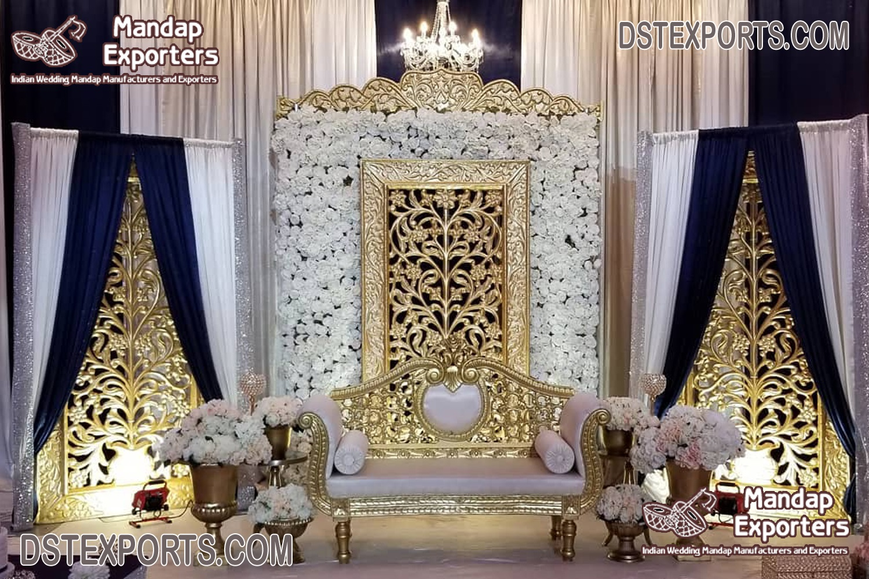 Latest Fiber Gold Frames For Wedding Stage