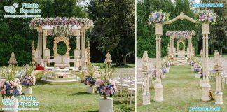 Royal Outdoor Wedding Wooden Mandap Decoration