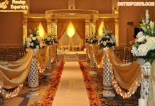 Traditional Indian Wedding Lighted Pillars Mandap