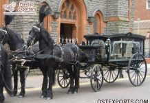 Vintage Style Funeral Black Hearse Carriage