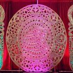 wedding stage golden frames decor
