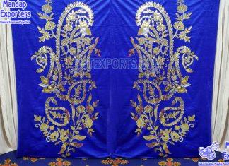 Wedding Stage Blue Velvet Backdrop Curtains