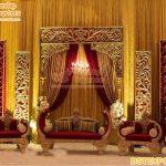 Asian Wedding Golden Theme Stage Decoration