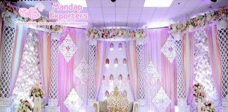 Asian Wedding White Theme Stage Decoration