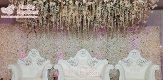 Elegant White Wedding Stage Loveseat Sofa Set