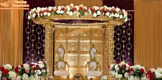 Glamorous Golden Round Mandap For Wedding