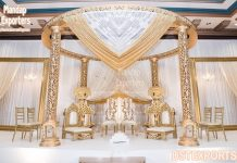 Gorgeous Golden Theme Wedding Mandap Decor