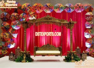 Gorgeous Mehndi Stage Peacock Swing For Bride