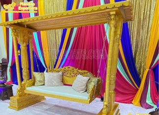 Indoor Mehndi Stage Peacock Swing Seating For Bride
