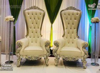 King Queen High Back Thrones For Luxury Weddings
