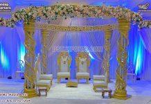 Luxury Wedding Golden Crystal Mandap USA
