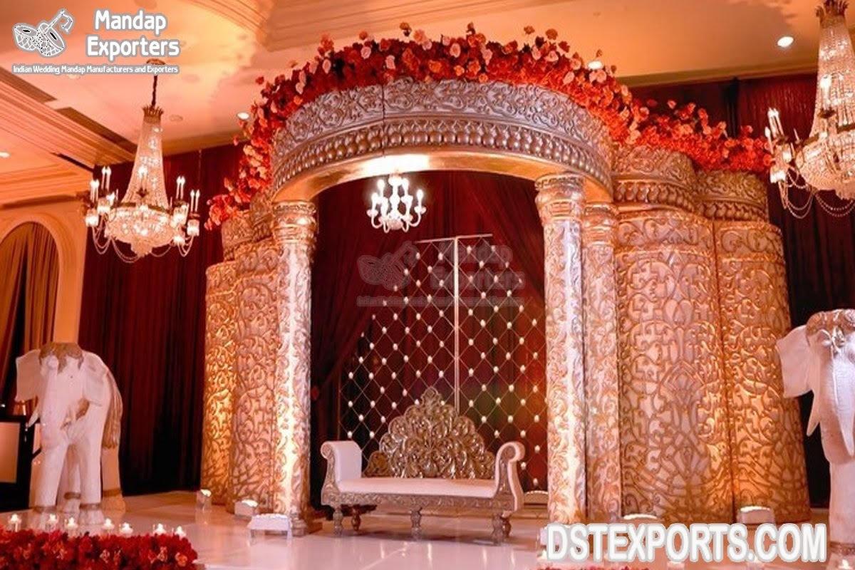Maharaja Wedding White Theme Stage Decoration