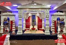 Modern Style Bollywood Wedding White Mandap
