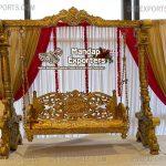 Royal Golden Look Wedding Stage Swing