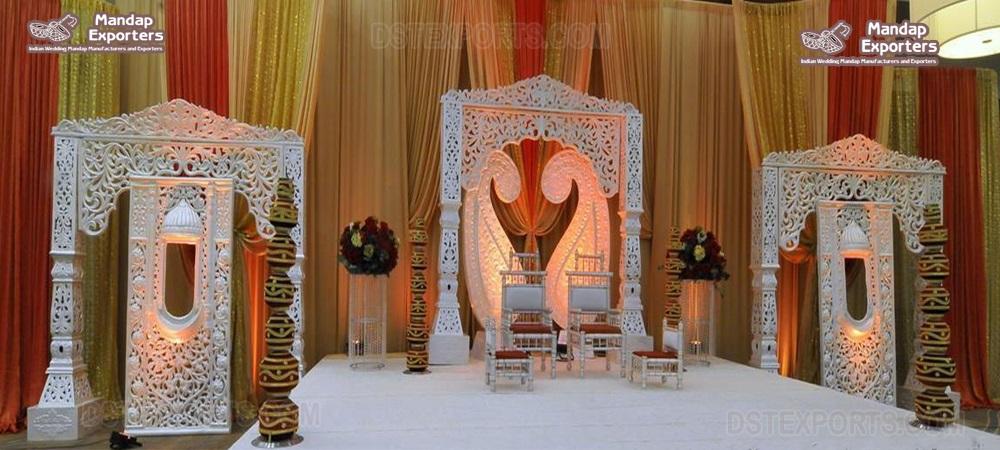 Stunning White Wedding Stage In Maharani Style