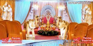 Traditional Radha Krishna Devotional Wedding Stage