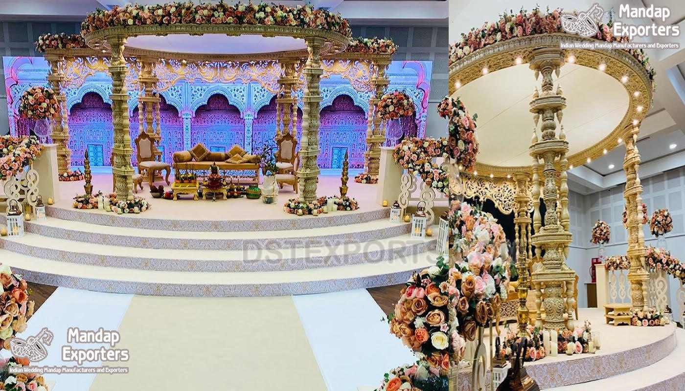 Traditional South Indian Wedding Wooden Mandap