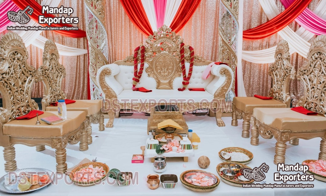 Traditional Wedding Mandap Wooden Furniture Set